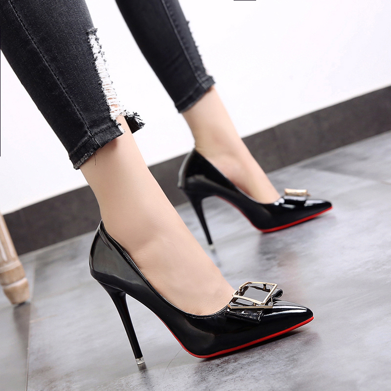 Womens Shoes High-Heels Professional Pointed Female Sexy Black United-States Shallow