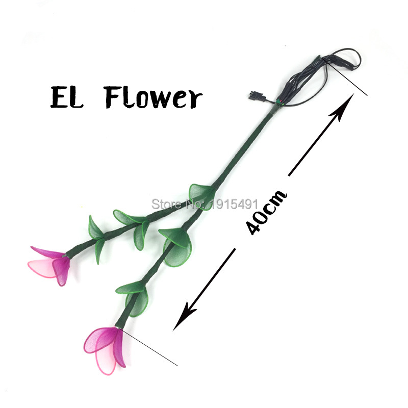 Rave Party Props Led Neon Mysterious Diy Fluorescent Pea Flower Colorful Holiday Lights EL Rope Tube Flashing Hana with Inverter