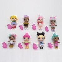 8 Pcs Set Kawaii Dress Change LOL 9 10cm Eggs Surprise Doll Toy Cute PVC Action