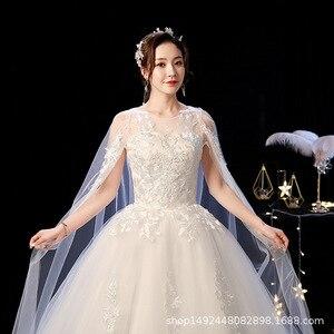 Image 4 - Robe de mariee lindo vestidos de casamento vestido de baile o pescoço rendas acima com apliques jaqueta mariage vestidos de noiva casamento 2020