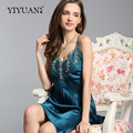 100% Natural Silk Nightdress Female Embroidery V-Neck Sling Lingerie Summer Nightgowns Real Silk Women Sleepwear  D33117