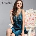 100% Natural Silk Nightdress Feminino Bordado Com Decote Em V Funda Lingerie Verão Nightgowns Mulheres Pijamas de Seda Real D33117