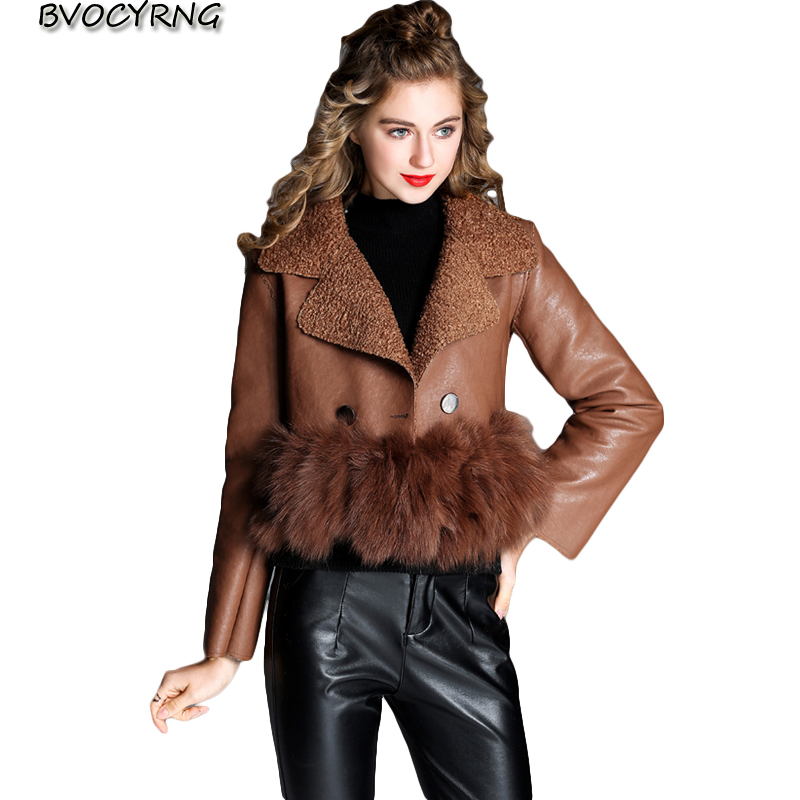 Leather Jacket Women New Autumn Winter Women Pu Leather Coats Lambs Wool Spring Girls Short Sexy Coat Female Rabbit hair A0156
