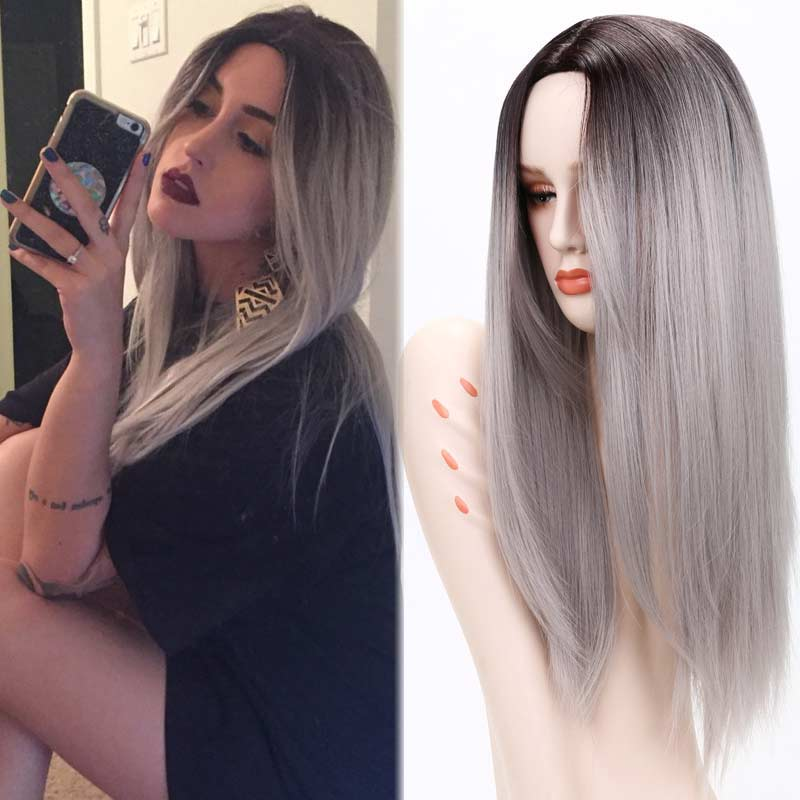 Ombre grey wigs female wig ombre grey synthetic wigs for black women long straight hair heat