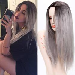 Ombre grey wigs female wig ombre grey synthetic wigs for black women long straight hair heat.jpg 250x250