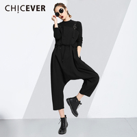 CHICEVER Slim Bandage Woman S Jumpsuits 2018 Summer Lace Up Loose Big Size Wide Leg Cross