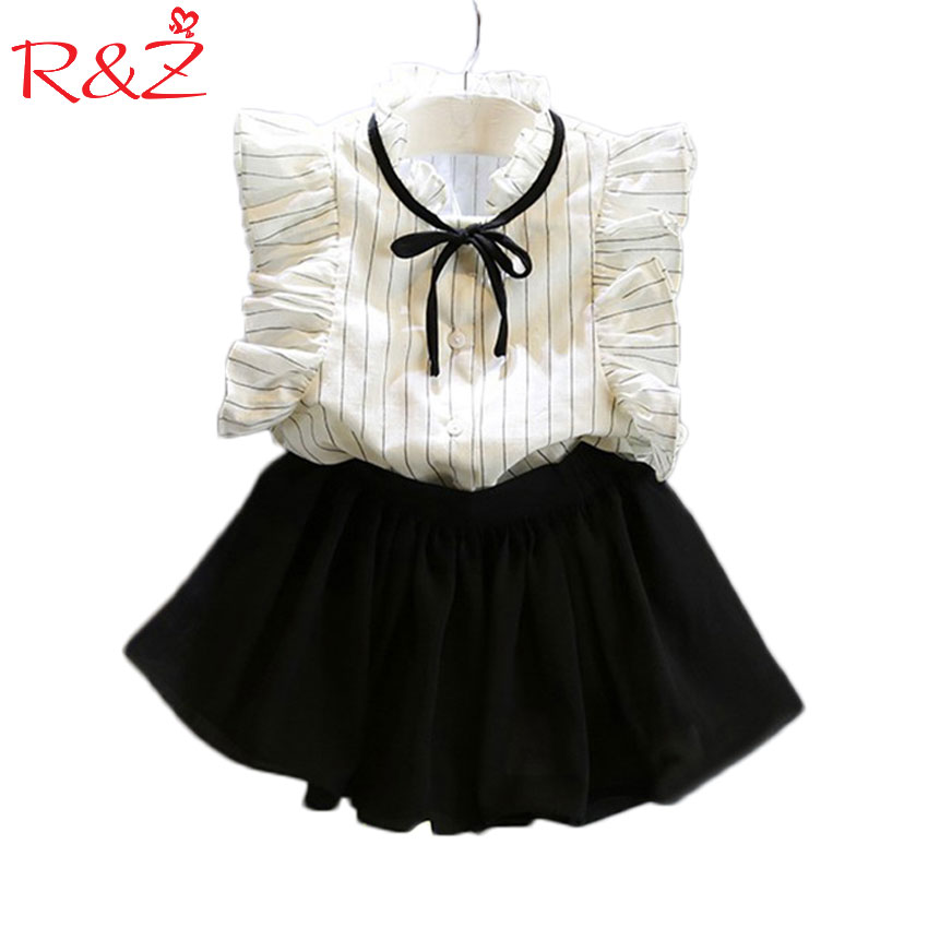 2PCS/0-7Years/2017 Korean Fashion Kids Summer Toddler Clothes Baby Girl Princess Cute T-Shirt+Skirt Children Clothing Set fashion kids baby girl dress clothes grey sweater top with dresses costume cotton children clothing girls set 2 pcs 2 7 years