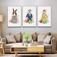 Canvas Prints Creative Art Cartoon Animal Decorative Painting Dog And Rabbit Printed For Living Room Mural