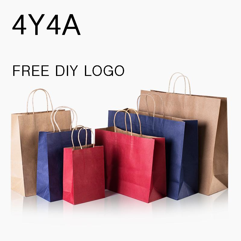 [4Y4A] 100pcs/Lot DIY Logo Candy Colored Kraft Paper Bag / Festival Bags / Paper Bag With Handles / Wholesale (DIY Logo >50pcs)