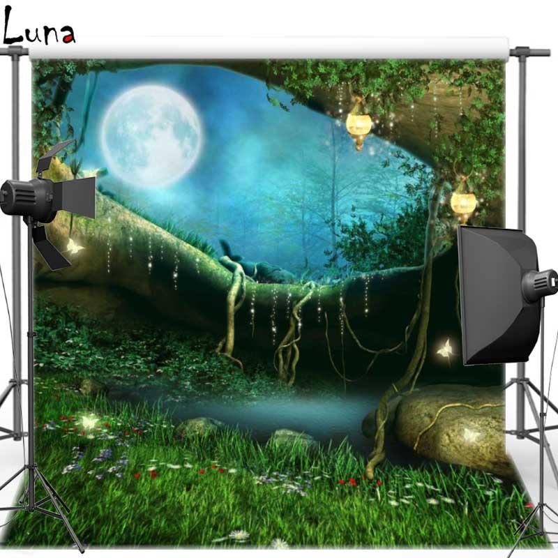 Prix pour Nuit Lune Vinyle Tissu Photographie Fond Forêt Décors pour photo studio Livraison gratuite F1044