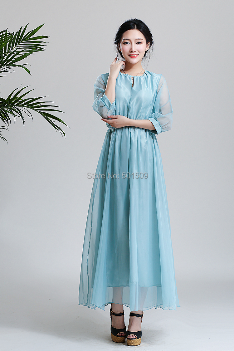 light blue string collar chiffon long medieval dress Renaissance lace Gown princess Victorian dress /Marie Antoinette