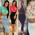 New Fashion 2015 Summer Women's Sexy Hot Sale Lace Crochet Short Sleeve T-Shirt Elegant Ladies Cropped Tops Shirts 4 Color SH47