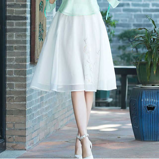 Most Popular Women Chinese Style Vintage Embroider Summer Skirt 2017 New Product Natural Chiffon Fashion Girl Elegance Skirt