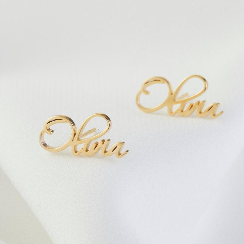 Nom boucles d'oreilles Dainty minimaliste 925 en argent Sterling boucles d'oreilles uniques personnalisées en argent massif boucles d'oreilles cadeau d'anniversaire