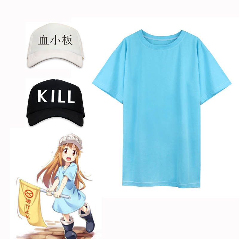 Adult Anime Hataraku Saibo Platelet T-shirt Tops Uniform Outfit Costumes Cosplay For Woman Man
