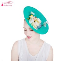 Mint Green Flowers Hats Exaggerated Large Disc Flower Hat Ladies Headwear Bridal Fashion Hats ZH041