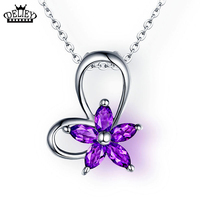DELIEY 100 Real 925 Sterling Silver Natural Amethyst Petal Flower Pendants Necklaces With 18inch S925 Silver