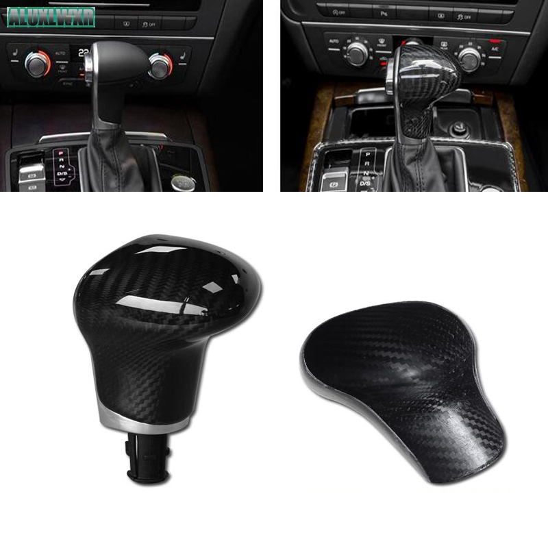 Pour Audi A4 A5 A6 A7 Q5 Q7 S6 S7 2009 2010 2011 2012 2013 2014 2015 2016 En Fiber De Carbone 3D autocollant Pommeau de levier De vitesse garniture