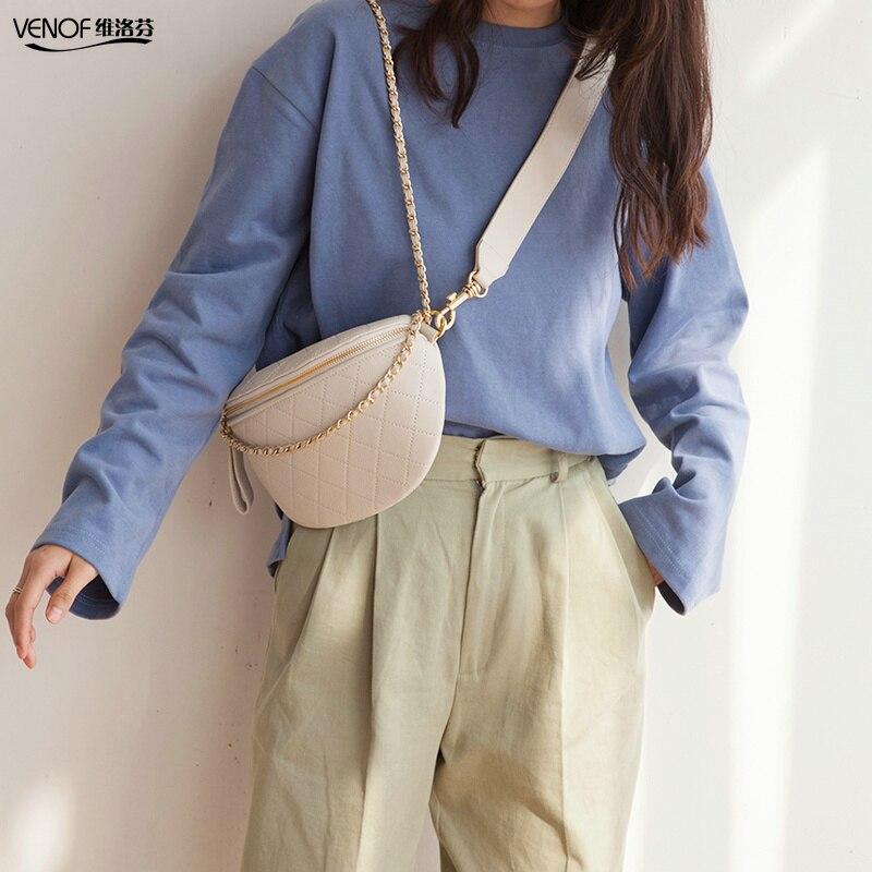 VENOF fashion genuine leather chest bag for women casual ladies samll shoulder bag female cow leather