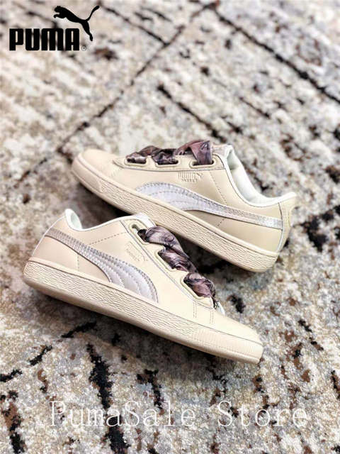 US $49.83 25% OFF|New Arrival PUMA Basket Heart Mimicry Wn Sneaker 367028 01 Silk Bow Women's Badminton Shoes Size EUR35.5 40 in Badminton Shoes from