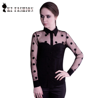 Excellent 2014 Woman Clothes Fashion Long Sleeve Retro Chiffon Polka Dot Shirt Blouse T56306