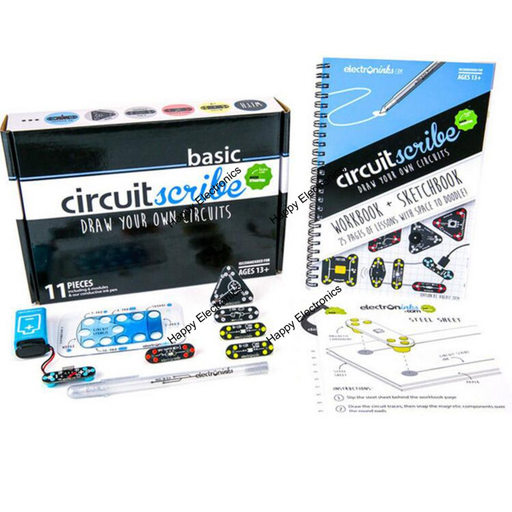 Buy Dfrobot Circuit Scribe Basic Kit With Spst And Ptm Switch Circuits Conductive Ink Pen Bi Led Npn Transistor Module For Makers Stem Educators Kids From