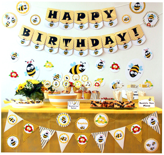 Bumble Bee Birthday Banner Bee Cupcake Topper Decoration Honey Bee Birthday Party Decorations Supplies Bee Banner Decor