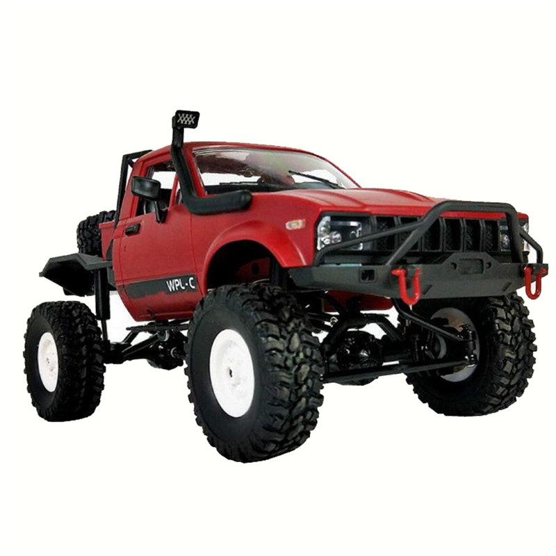 1:16 WPL C14 Scale 2.4G 2CH 4WD Mini Off-road RC Semi-truck RTR Kids Climb Truck USB Charging New and unused RED Remote Control 1 14 tamiya semi container trailer