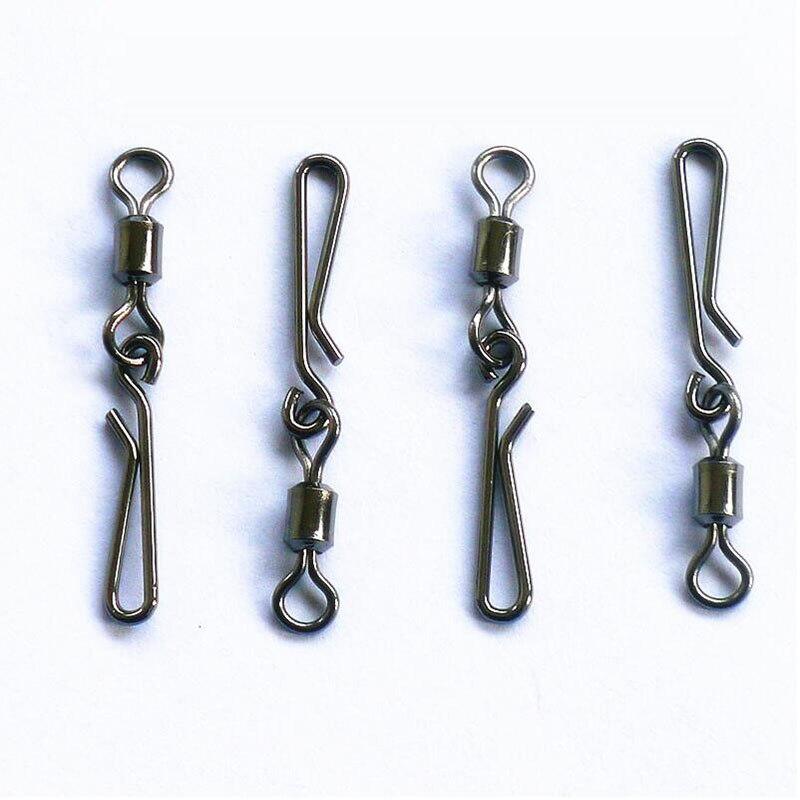 50 Stück Stahl Angeln Wirbel Snaps Swivel Pin Silber Stahl für