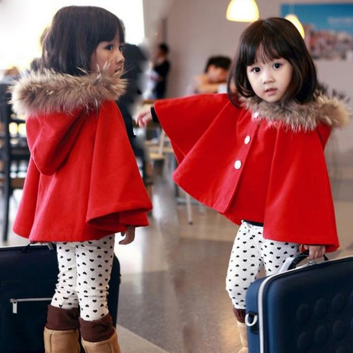 ФОТО Winter autumn fashion children's warm jackets shawl red hooded cloak baby girls cape pattern girl coats