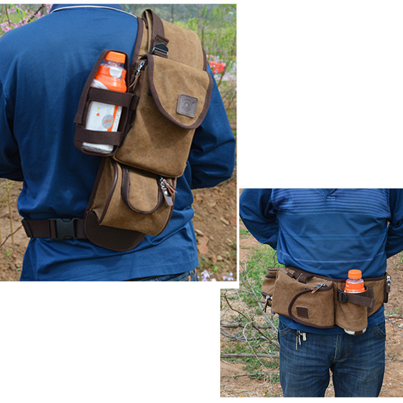 2017 New Men Canvas Casual Travel Water Bottle Shoulder Cross Body Messenger Sling Faany Pack Waist Chest Bag