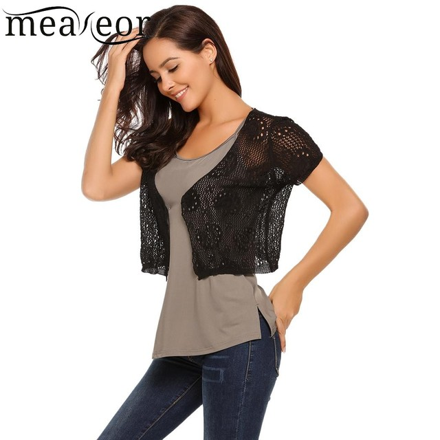 c22f146913089 Meaneor Floral Hollow Out Short Cardigans Shrug Front Open Short Women  Bolero Tops Black white Casual Outwear Cardigan Clothes