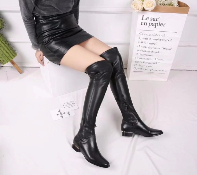 e75fe51178c8 Strech Long Women Boots Black Genuine Leather Knee Thigh High Boots Dress Women  Shoes Fashion Low Heels Motorcycle Botas Mujer