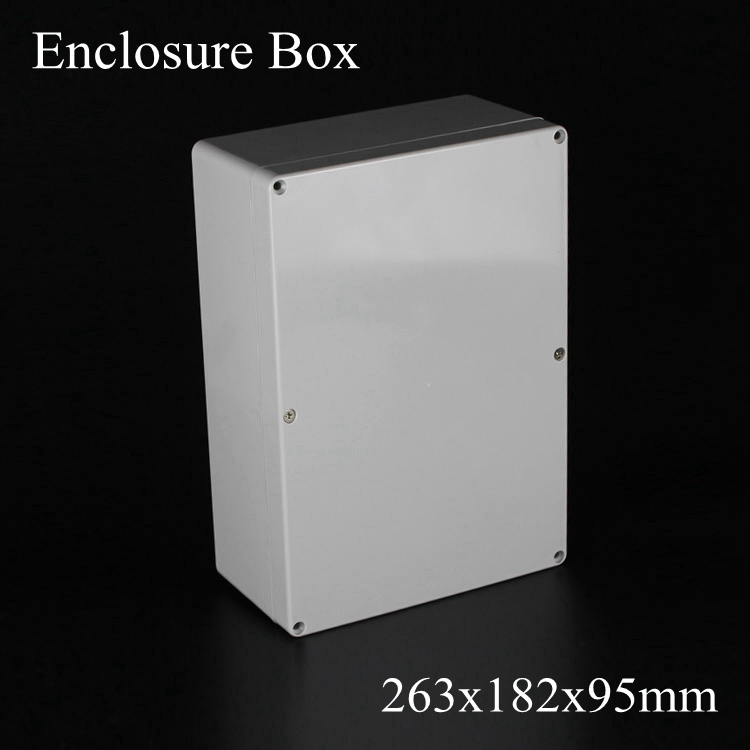 (1 piece/lot) 263*182*95mm Grey ABS Plastic IP65 Waterproof Enclosure PVC Junction Box Electronic Project Instrument Case