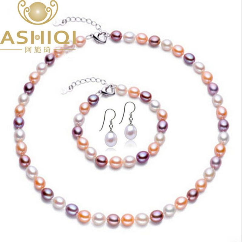 Ashiqi Perle Schmuck Sets 7-8mm Multi Reis Natürliche Süßwasser Perle Halskette Armband Ohrringe 925 Sterling Silber Schmuck