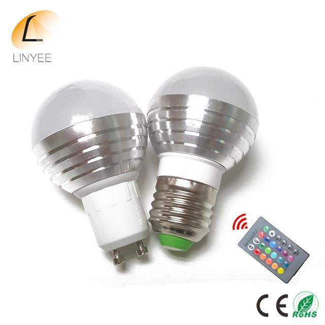 100cs 16 kleuren veranderen 5 w e27 e14 gu10 rgb led lamp lamp ac85 265v