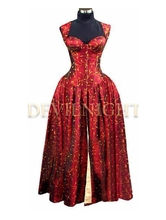 Red Printed Pattern Corset Victorian Dress Gothic Victorian Dress Patterns