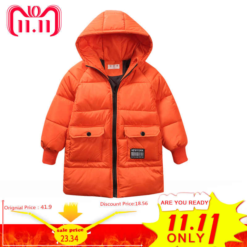 boys winter Coat hooded 5-13 years old kids down jacket children's parkas warm Long trench coat Solid color windproof fashion stylish long sleeves pure color side slit pockets women s trench coat
