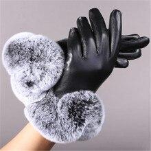 Женские перчатки из натуральной кожи, черные классические перчатки из овчины, зимние толстые теплые модные варежки, Новое поступление, перчатки из овчины
