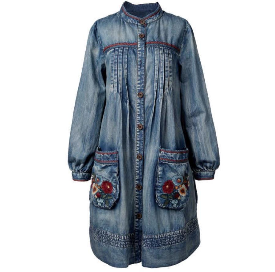 Trench Coat 2019 spring Casual New Denim Women Coats Stand Collar Floral Embroidery Lantern Sleeve loose jackat