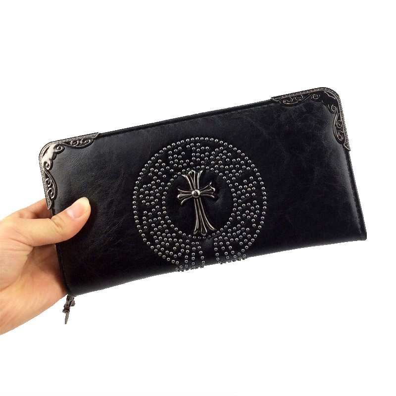 ФОТО New Arrival Leather Mens Wallets Vintage Style Rivets Fashion Women Purse Long Style Wallet Men carteira feminina