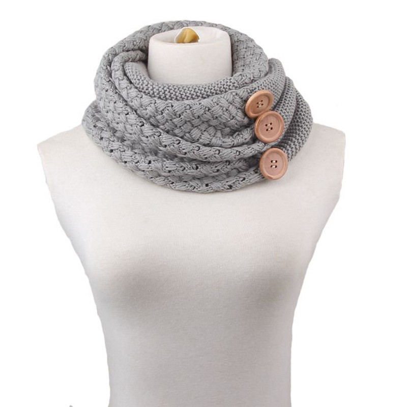 160g Fashion Winter Thick Warm Scarf For Women Knitting Round Towel Two Circles 3 Buttons Neck