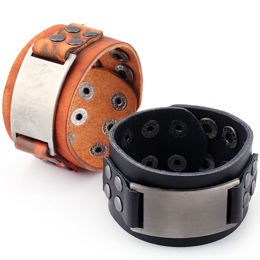 2 Colour Fashion Vintage Handmade Genuine Punk Leather Wristband Wide Bracelets & Bangle for Women Men Jewelry Accessory FS040