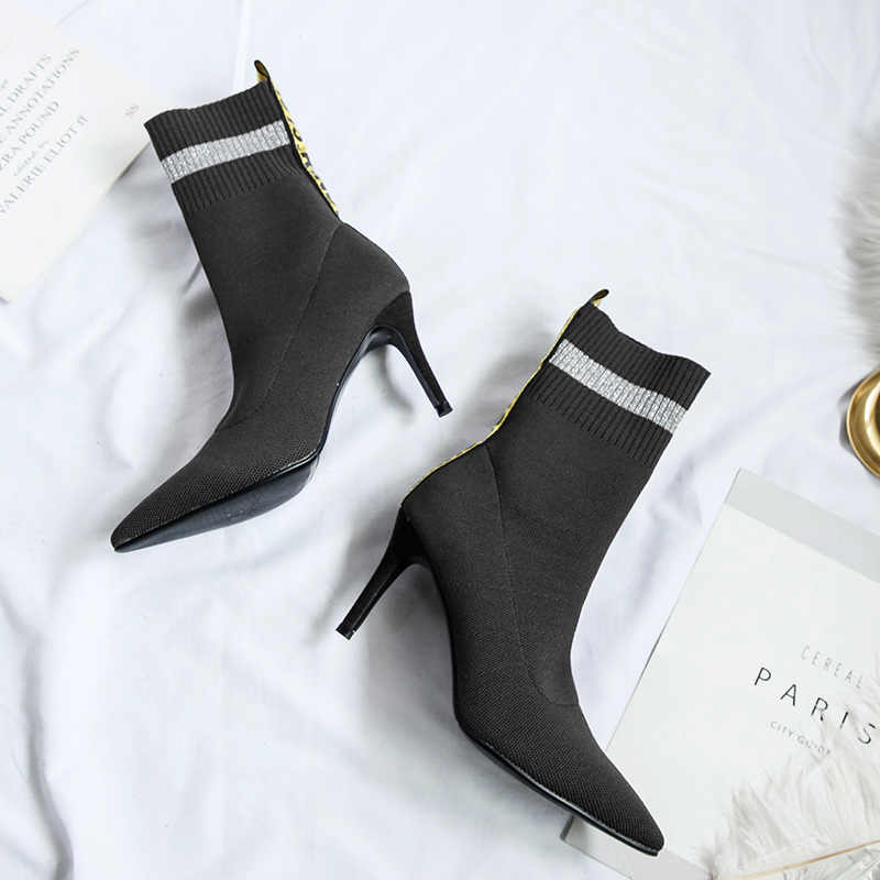 Donna-in seksi süper ince yüksek topuklu çizmeler kadın sivri burun örgü streç kumaş kadın ayakkabı 2019 hakiki deri sonbahar için