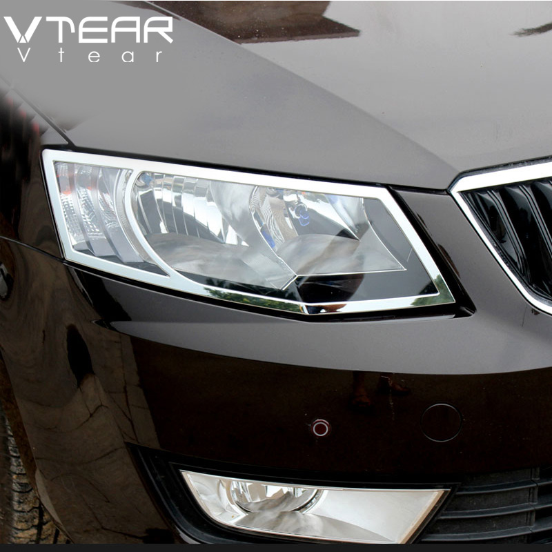 Vtear For Skoda Octavia A7 headlights cover Chromium Styling body decoration products Exterior car styling accessory