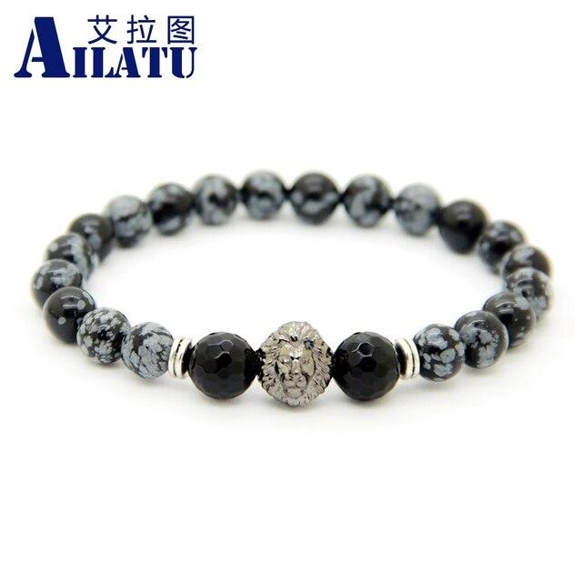 Ailatu Jewelry Snowflake Obsidian Stone Beads Gun Black Lion Head Bracelet For Men And Women Gift