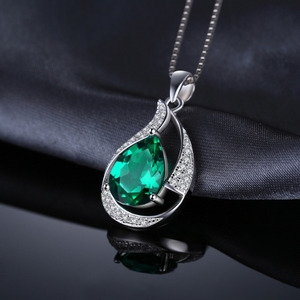 Image 3 - Jpalace 3ct Simulated Nano Emerald Pendant Necklace 925 Sterling Silver Gemstones Choker Statement Necklace Women No Chain
