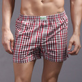 Linen Arrow pants Underwear Men Plaid Boxer Shots Underpants Hot Sale Grid Print Quality Loose Mans Cuecas Boxer drop Shipping