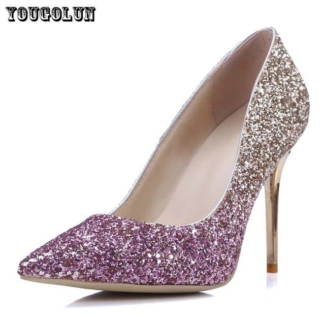 Women 9.5cm Thin High Heels Pumps Sexy Glitter Leather