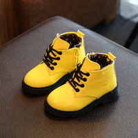 Children Kids Girls Boys Autumn Winter Patent Leather Martin Snow Boots For Baby Teens Student Girls